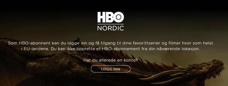 Hvis du befinner deg i EU har du mulighet til å se på HBO Nordic, men du kan ikke opprette et nytt abonnement.